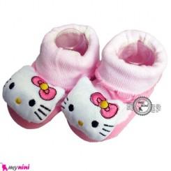 پاپوش عروسکی استُپ دار صورتی کیتی Baby cute socks