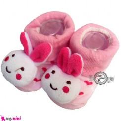 پاپوش عروسکی استُپ دار قلب و خرگوش Baby cute socks