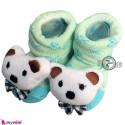 پاپوش عروسکی استُپ دار سبز خرس Baby cute socks
