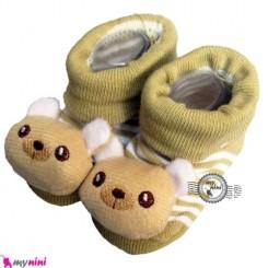 پاپوش عروسکی استُپ دار سدری خرس Baby cute socks