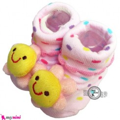 پاپوش عروسکی استُپ دار صورتی گل Baby cute socks