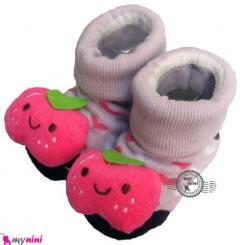 پاپوش عروسکی استُپ دار یاسی سیب Baby cute socks