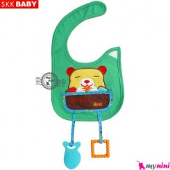 پیشبند دندانگیر دار سبز خرس SKK Baby pinafore