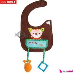 پیشبند دندانگیر دار قهوه ای گربه SKK Baby pinafore