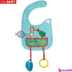 پیشبند دندانگیر دار فیروزه ای زرافه SKK Baby pinafore