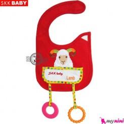 پیشبند دندانگیر دار قرمز گوسفند SKK Baby pinafore
