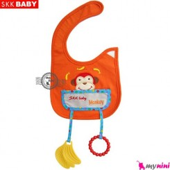 پیشبند دندانگیر دار نارنجی میمون SKK Baby pinafore