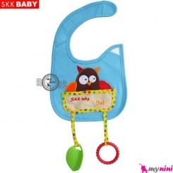 پیشبند دندانگیر دار آبی جغد SKK Baby pinafore