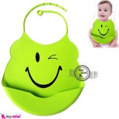 پیشبند سیلیکونی کاسه ای سبز چشمک Baby silicone bib