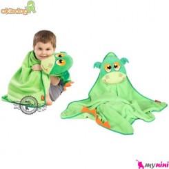 پتو اوکی داگ عروسکی سبز اژدها Okiedog Lil Pet Pals Travel Blanket