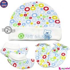 ست کلاه دستکش پاپوش نوزاد پنبه ای حُباب newborn cotton hat and glove set