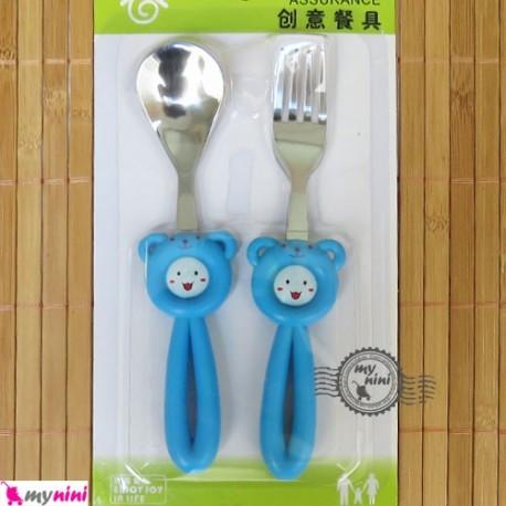 قاشق و چنگال کودک استیل موشی آبی Cartoon Tableware