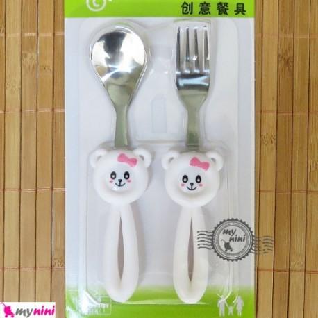 قاشق و چنگال کودک استیل موشی سفید Baby Cartoon Tableware