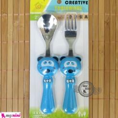 قاشق و چنگال کودک عروسکی آبی راکون Baby Cartoon Tableware