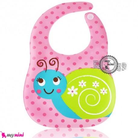 پیشبند ضد لک صورتی حلزون Baby cartoon waterproof bibs