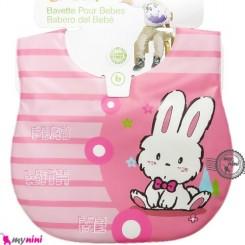 پیشبند ضد لک صورتی خرگوش Baby cartoon waterproof bibs