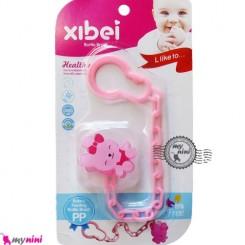 زنجیر پستانک عروسکی خرگوش صورتی Baby cute pacifier holder