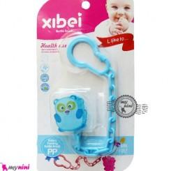 زنجیر پستانک عروسکی پاندا آبی Baby cute pacifier holder