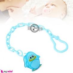 زنجیر پستانک عروسکی پنگوئن آبی Baby cute pacifier holder