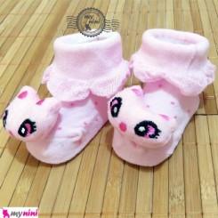 جوراب عروسکی بچگانه صورتی گربه Baby cute socks