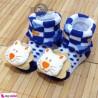 جوراب عروسکی بچه آبی شیر Baby cute socks