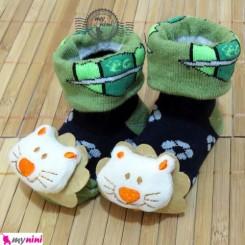 جوراب عروسکی بچه شیر سبز سُرمه ای Baby cute socks