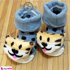 جوراب عروسکی آقا ببری طوسی خالدار Baby cute socks
