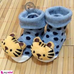 جوراب عروسکی طوسی خالدار بچه ببر Baby cute socks