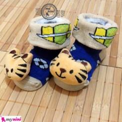 جوراب عروسکی آبی بچه ببر Baby cute socks