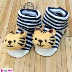 جوراب عروسکی سُرمه ای راه راه بچه ببر Baby cute socks