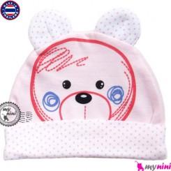 کلاه پنبه ای کشی خرس گوشدار Newborn cotton hat