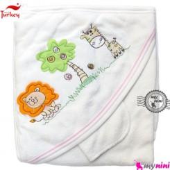 حوله کلاهدار و دست بی بی لاین ترکیه حیوانات جنگل turkey baby hooded towel