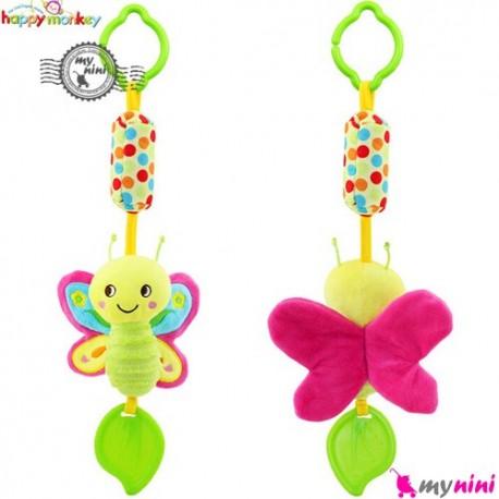 عروسک دندانگیر دار و صدادار هپی مانکی پروانه Happy Monkey Baby Plush Toys