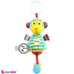 عروسک نوزاد و کودک صدادار پولیشی میمون LH Baby Plush Toys سیسمونی