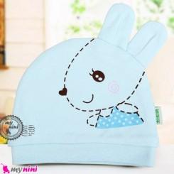 کلاه نوزاد پنبه ای خرگوش بامزه آبی Newborn cotton hat