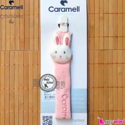 بند پستانک کارامل عروسکی خرگوش صورتی Caramell baby pacifier holder