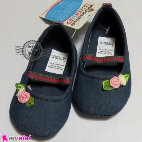 کفش دخترانه لی سُرمه ای گل صورتی Baby shoes