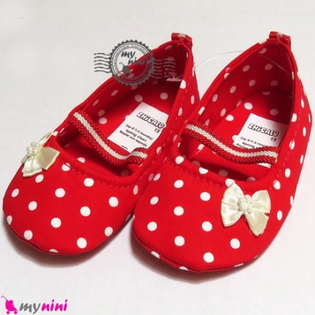 کفش دخترانه قرمز خالدار Baby shoes