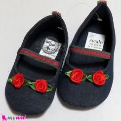 کفش دخترانه لی سُرمه ای رز قرمز Baby shoes