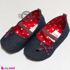 کفش دخترانه لی سُرمه ای پاپیون چهارخانه Baby shoes