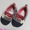 کفش دخترانه لی سُرمه ای لبه توردار Baby shoes
