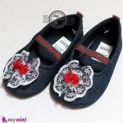 کفش دخترانه لی سُرمه ای تور و گل Baby shoes