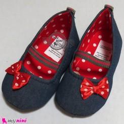کفش دخترانه لی سُرمه ای پاپیون قرمز Baby shoes