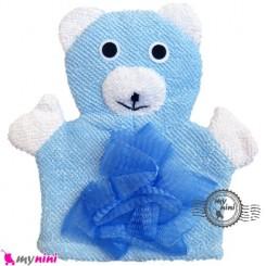 لیف عروسکی نوزاد و کودک آبی خرس Baby Hand Puppet Bath Shower Wash Mitt