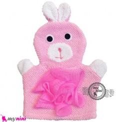 لیف عروسکی نوزاد و کودک صورتی خرگوش Baby Hand Puppet Bath Shower Wash Mitt