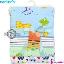 خشک کن کارترز 4 عددی آبی حیوانات Carters newborn blanket