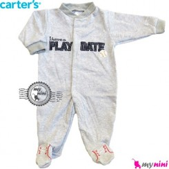 سرهمی کارترز پنبه ای اسپرت طوسی Carter's baby bodysuit
