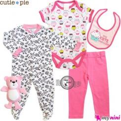 ست لباس نوزاد و کودک پنبه ای 5 تکه صورتی کیک Cutie Pie baby clothes