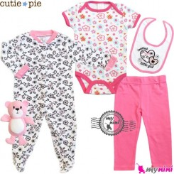 ست لباس نوزاد و کودک 5 تکه پنبه ای گل Cutie Pie baby clothes