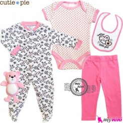 ست لباس پنبه ای 5 تکه صورتی خالدار Cutie Pie baby clothes